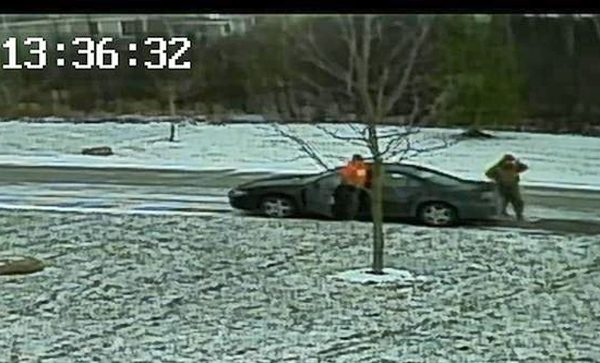 Suspect exiting vehicle