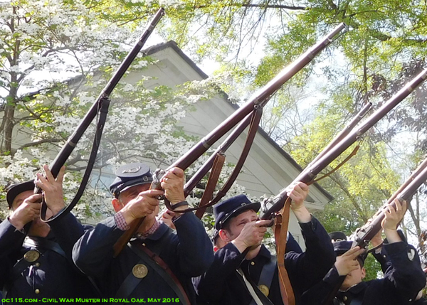 20150528_civil_war_muster_royal_oak_starr_house_long guns and blossoms