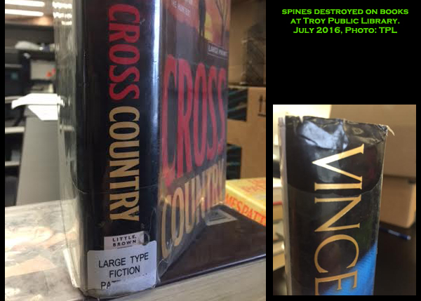20160707_Vandal Destroying Books at Troy Library_examples