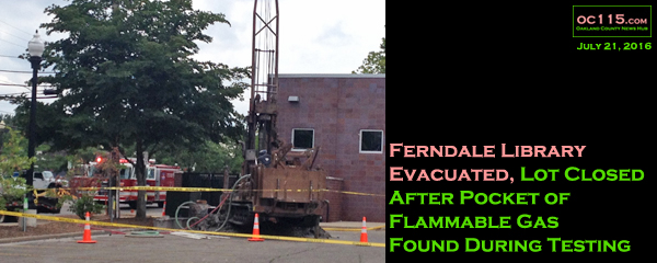 20160721_Gas Pocket Under Ferndale City Hall Lot Brings Firetrucks to Area, Slows Testing_title