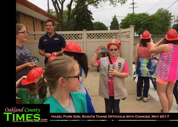 hazel park girl scouts thank officials with cookies the