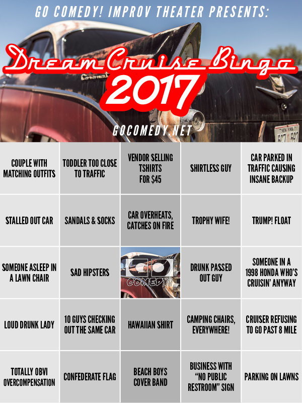 Image result for WOODWARD DREAM CRUISE BINGO 2019